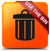 Use the bin glossy yellow square button — Stock Photo