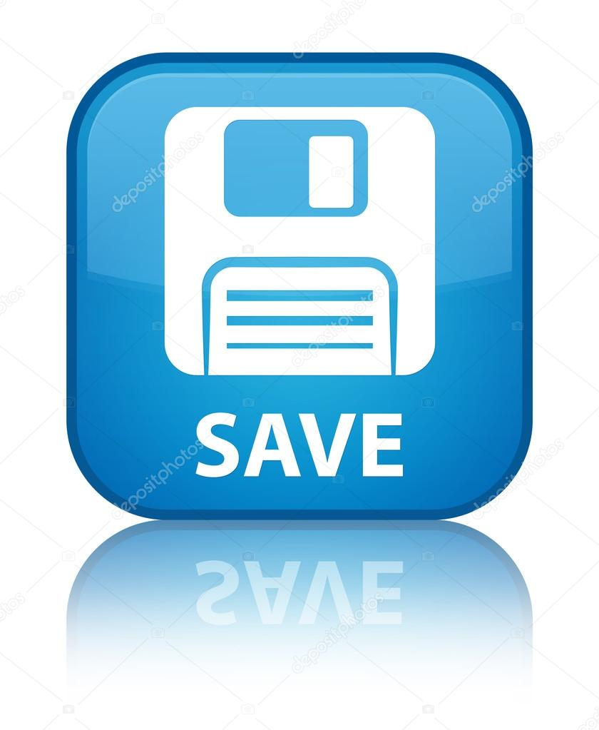 save floppy disk icon glossy blue reflected square