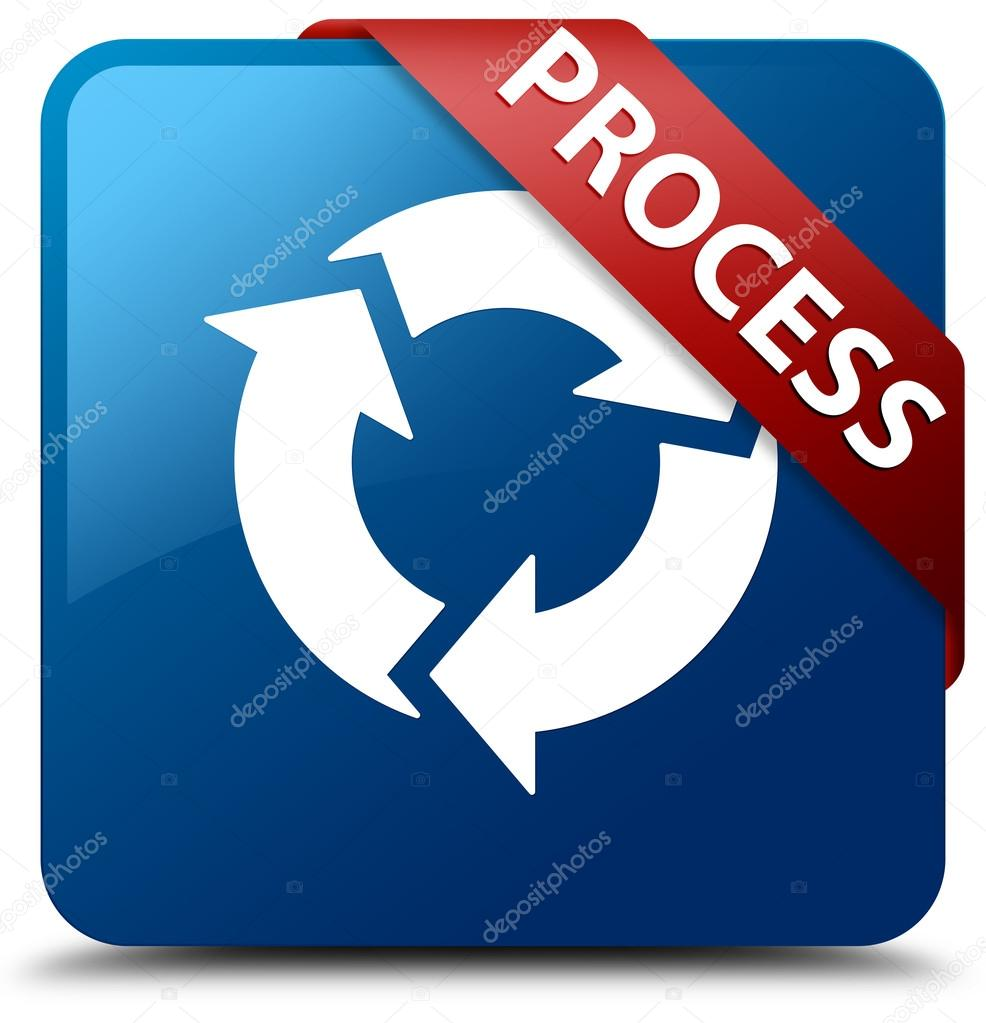 process update icon glossy blue square button � stock