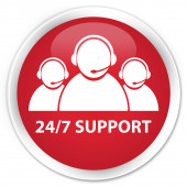 24by7 support (customer care icon) red button — Stockfoto