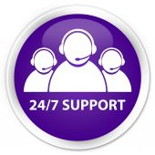 24by7 support (customer care team icon) purple button — Foto Stock