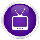 Television icon purple button — Stockfoto