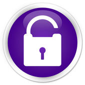 Unlock icon purple button — Stockfoto