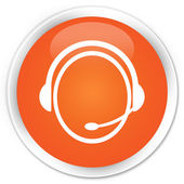 Customer service icon orange button — Foto Stock
