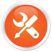 Settings icon orange button — Stock Photo