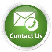 Contact us (phone into envelop icon) green button — Stock Photo