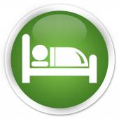 Hotel bed icon green button — Stockfoto