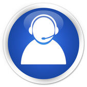 Customer care icon blue button — Foto Stock