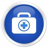 First aid kit icon blue button — Zdjęcie stockowe
