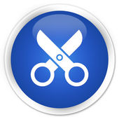 Scissors icon blue button — Stock Photo