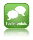 Testimonials (chat icon) glossy green reflected square button — Stock Photo