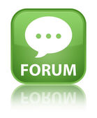 Forum (comment bubble icon) glossy green reflected square button — Stock Photo
