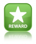 Reward (star icon) glossy green reflected square button — Stock Photo