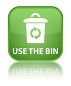 Use the bin glossy green reflected square button — Stock Photo