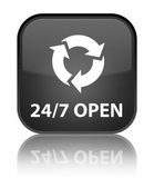24by7 open (refresh icon) glossy black reflected square button — Stock Photo