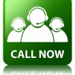 Call now (customer care team icon) glossy green reflected square — Stock Photo #56780931
