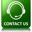 Contact us (customer care icon) glossy green reflected square bu — Stock Photo #56780989