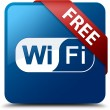 Free Wifi (Wifi icon) glassy red ribbon on glossy blue square bu — Stock Photo #56788437