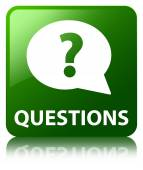 Questions glossy green reflected square button — Stock Photo