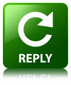 Reply glossy green reflected square button — Stock Photo