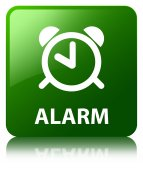 Alarm glossy green reflected square button — Stock Photo