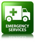 Emergency services glossy green reflected square button — Stock Photo