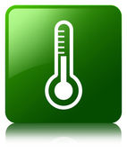 Thermometer icon glossy green reflected square button — Stok fotoğraf