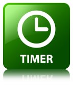 Timer glossy green reflected square button — Fotografia Stock