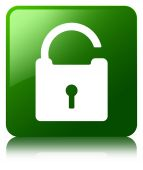 Unlock padlock icon glossy green reflected square button — Stock Photo