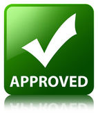 Approved (validate icon) glossy green reflected square button — Stock Photo