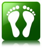 Footprint icon glossy green reflected square button — Stock Photo