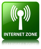 Internet zone (wlan network) glossy green reflected square butto — Stock Photo