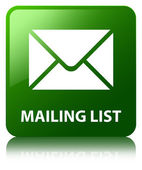 Mailing list glossy green reflected square button — Stockfoto