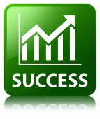 Success (statistics icon) glossy green reflected square button — Stock Photo