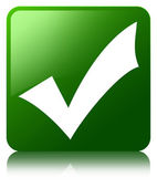 Validate icon glossy green reflected square button — Stock Photo