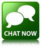 Chat now (bubble icon) glossy green reflected square button — ストック写真