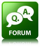 Forum (question answer bubble icon) glossy green reflected squar — Stock Photo