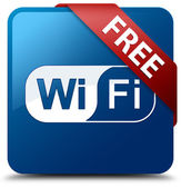 Free Wifi (Wifi icon) glassy red ribbon on glossy blue square bu — Stok fotoğraf