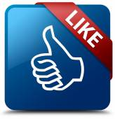Like (thumbs up icon) glassy red ribbon glossy blue square butto — Stok fotoğraf