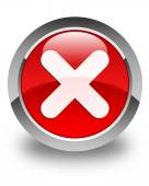 Cancel icon glossy red round button — Stock Photo