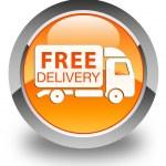 Free delivery (truck icon ) glossy orange round button — Stock Photo #56794333
