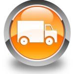 Delivery truck icon glossy orange round button — Stock Photo #56795077