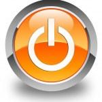Power icon glossy orange round button — Stock Photo #56795487