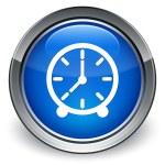 Clock icon glossy blue button — Stock Photo #56798125