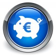 Piggy bank (euro sign) icon glossy blue button — Stock Photo #56798885