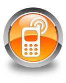 Cellphone ringing icon glossy orange round button — Stock Photo