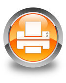 Printer icon glossy orange round button — Stock Photo