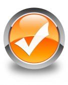 Validate icon glossy orange round button — Stock Photo