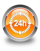 24 hours delivery icon glossy orange round button — Stock Photo
