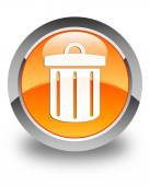 Recycle bin icon glossy orange round button — Stock Photo